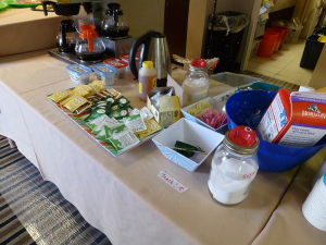 the coffee/tea station in the Con Suite